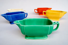Riviera Pottery for Sale: Original Green Sauce Boat from vintagefiestaware.com