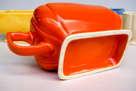 Riviera Pottery for Sale: Original Red Sauce Boat from vintagefiestaware.com