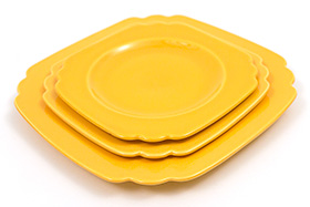 Vintage Riviera Pottery Harlequin Yellow 7inch Salad Plate
