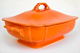 Riviera Covered Casserole in Original Red Glaze For Sale Vintage Pottery 30s Americana Art Deco Dinnerware