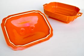 Riviera Covered Casserole in Original Red Vellum Glaze For Sale Vintage Pottery 30s Americana Art Deco Dinnerware