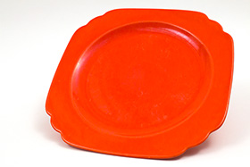 Vintage Riviera Pottery Radioactive Red 10inch Large Dinner Plate
