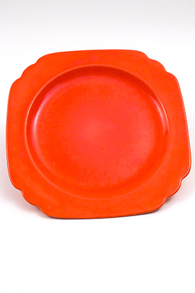 Vintage Riviera Pottery Ten Inch Dinner Plate in Original Radioactive Red Glaze