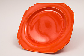 Vintage Riviera Pottery Radioactive Red 7inch Salad Plate