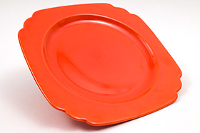 Vintage Riviera Pottery Radioactive Red 9 inch Luncheon Plate