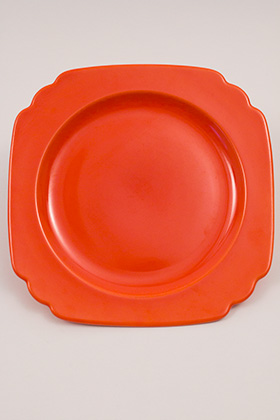 Vintage Riviera Pottery Nine Inch Luncheon Plate in Original Radioactive Red Glaze