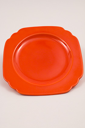 Vintage Riviera Pottery Radioactive Red Plate