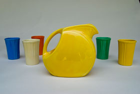 Riviera Pottery: Rare Yellow Juice Disk Pitcher for Sale: Vintage Homer Laughlin Pottery: 30s 40s Fiestaware Americana Dinnerware