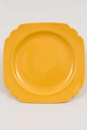 Vintage Riviera Pottery Seven Inch Salad Plate in Original Harlequin Yellow Glaze