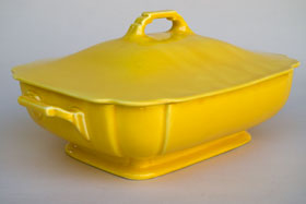 Riviera Covered Casserole in Original Yellow Glaze For Sale Vintage Pottery 30s Americana Art Deco Dinnerware