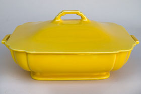 Riviera Covered Casserole in Original Yellow Vellum Glaze For Sale Vintage Pottery 30s Americana Art Deco Dinnerware