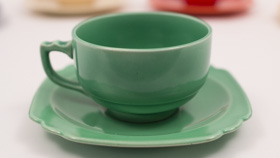 Vintage Riviera Pottery Teacup and Saucer Set in Original Light Green Glaze