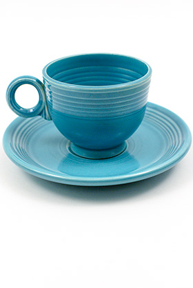 Turquoise Vintage Fiesta Teacup and Saucer Fiestaware Homer Laughlin Pottery