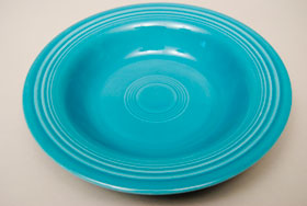 Vintage Fiesta Turquoise Deep Plate: Fiestaware Pottery For Sale