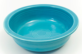 Turquoise Vintage Fiesta 9 and one half inch nappy bowl Fiestaware For Sale Old Authentic