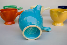 Vintage Fiestaware Stick Handled Creamer in Original Turquoise Glaze For Sale