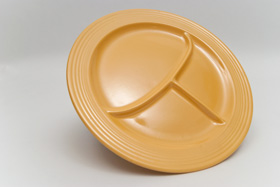 Vintage Fiestaware, Original Yellow 12 inch Divided Compartment Plate, Rare Pottery For Sale
