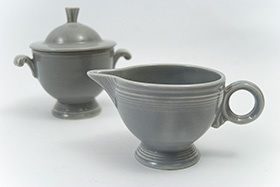 Vintage Fiesta Sugar and Creamer Set in Original 50s Gray Glaze