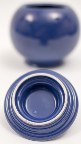 Vintage Fiesta Kitchen Kraft Covered Ball Jar in Original Cobalt Blue Glaze Smallest Size