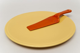 Kitchen Kraft Cake Plate in Yellow: Hard to Find Go-Along Fiestaware Pottery For Sale