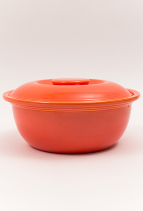 Vintage Fiesta Kitchen Kraft Covered Casserole in Original Orange Large Version