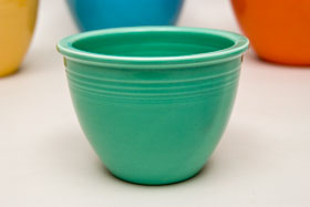Red Vintage Fiesta Nesting Bowl Number One in Light Green For Sale