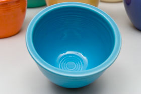 Red Vintage Fiesta Nesting Bowl Number One in Turquoise For Sale
