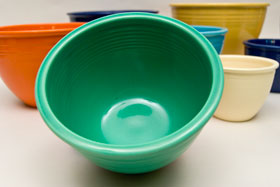 Vintage Fiesta Nesting Bowl Number Three in Green For Sale