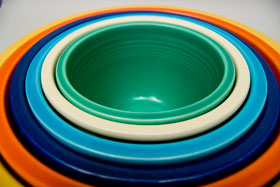 Vintage Fiesta Nesting Bowl Number Two in Green For Sale