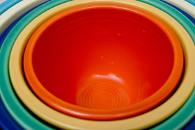 Red Vintage Fiesta Number 2 Red Nesting Bowl For Sale