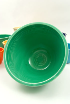 Vintage Fiesta Nesting Bowl Large Number Seven in Original Green Glaze