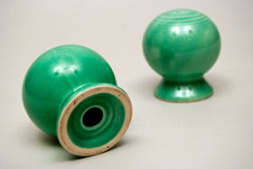 Vintage Fiestaware Salt and Pepper Shakers in Original Original Green  Glaze For Sale