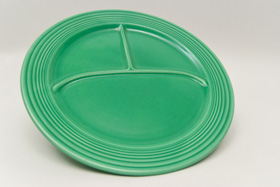 Vintage Fiesta Ten Inch Divided Plate in Original Green: Genuine, Old, Antique, For Sale, Gift
