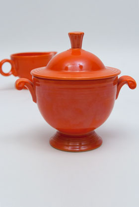 Vintage Fiestaware Sugar Bowl and Creamer Set  in Original Red Glaze For Sale
