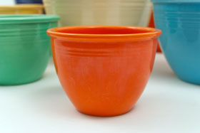 Red Vintage Fiestaware Large Footed Salad Bowl For Sale