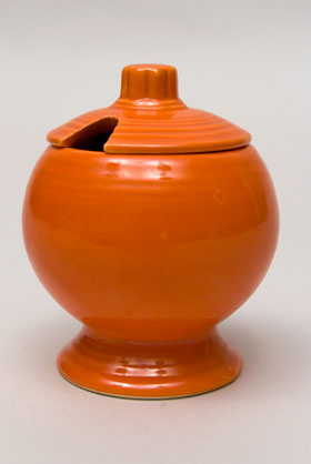 Vintage FIestaware: Original Radioactive Red Fiesta Pottery Mustard For Sale