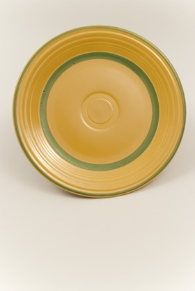 Vintage Fiesta Yellow Luncheon Plate with Hand Applied Green Stripes