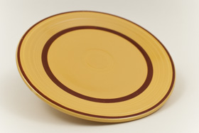 Yellow with Red Striped Fiesta 9 inch Plate Fiestaware Pottery For Sale