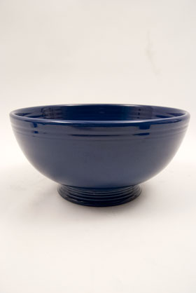 Cobalt BLue Vintage Fiestaware Large Footed Salad Bowl For Sale