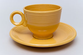 Vintage Fiesta Teacup and Saucer Set in Original Yellow Glaze