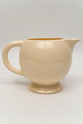 Vintage Fiestaware Ice Lip Pitcher in Original Ivory Glaze For Sale