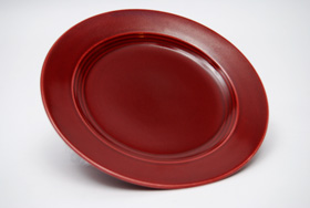 Vintage Harlequin Pottery Maroon Bread and Butter Plate For Sale