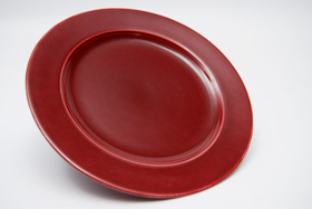 Vintage Harlequin Pottery Maroon Salad Plate For Sale