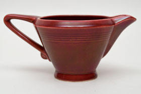 Vintage Harlequin Pottery Maroon Creamer For Sale
