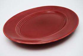 Vintage Harlequin Pottery Maroon Platter For Sale