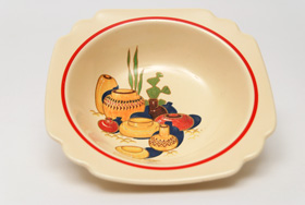 Riviera Pottery for Sale:Berry Bowl with Mexicana Decals and Red Stripes  from vintagefiestaware.com