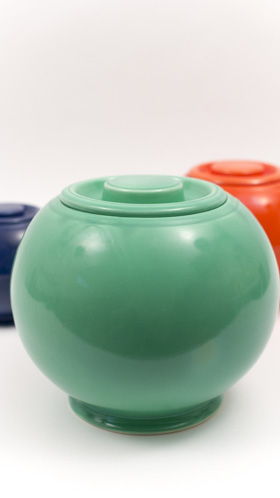 Original Green Vintage Fiesta Kitchen Kraft Cookie Jar, Ball Jar, Covered Jar Fiestaware Pottery For Sale