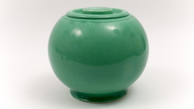 Original Green Fiesta Kitchen Kraft Cookie Jar, Ball Jar, Covered Jar Fiestaware Pottery For Sale