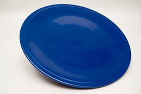 Kitchen Kraft Cake Plate in Original Cobalt: Hard to Find Go-Along Fiestaware Pottery For Sale
