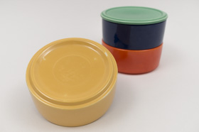 Kitchen Kraft Stacking Refrigerator Set with Lid in All Original Vintage Fiesta Kitchen Kraft Colors: Hard to Find Go-Along Fiestaware Pottery For Sale